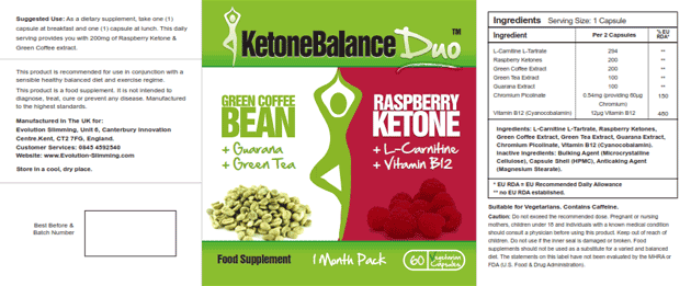 Ketone Balance Duo Label
